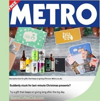 Merry Christmas to you all. 🎄 For those of you who normal do your shopping on Christmas Eve and are struggling to get to the shops; why not give the gift of a coffee subscription as recommended by @metro.co.uk Head over to our gift page for inspiration. #lastminutegifts #lastminutechristmasshopping #beanscoffeeclub #coffeelovers #coffeelovergifts