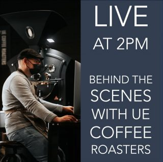 LIVE ON INSTAGRAM TODAY @ 2PM 🔜📹 . Join us today at 2pm to go behind the scenes with @uecoffeeroasters . Find out more about the team who roasts your beans, see where your coffee is roasted and how the roastery works. . Hope to see you soon. .