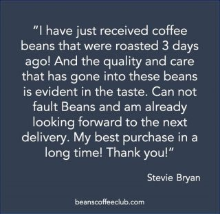 Thank you Stevie for the lovely review. It makes us so happy to hear that you are enjoying our club.  We love having you here.   🥰☕  #fortheloveofcoffee #lovingthefeedback #feedbackfriday #feedbackfriyay #feelgooodfriday #friyay #beanscoffeeclub #supportingukcoffeeroasters